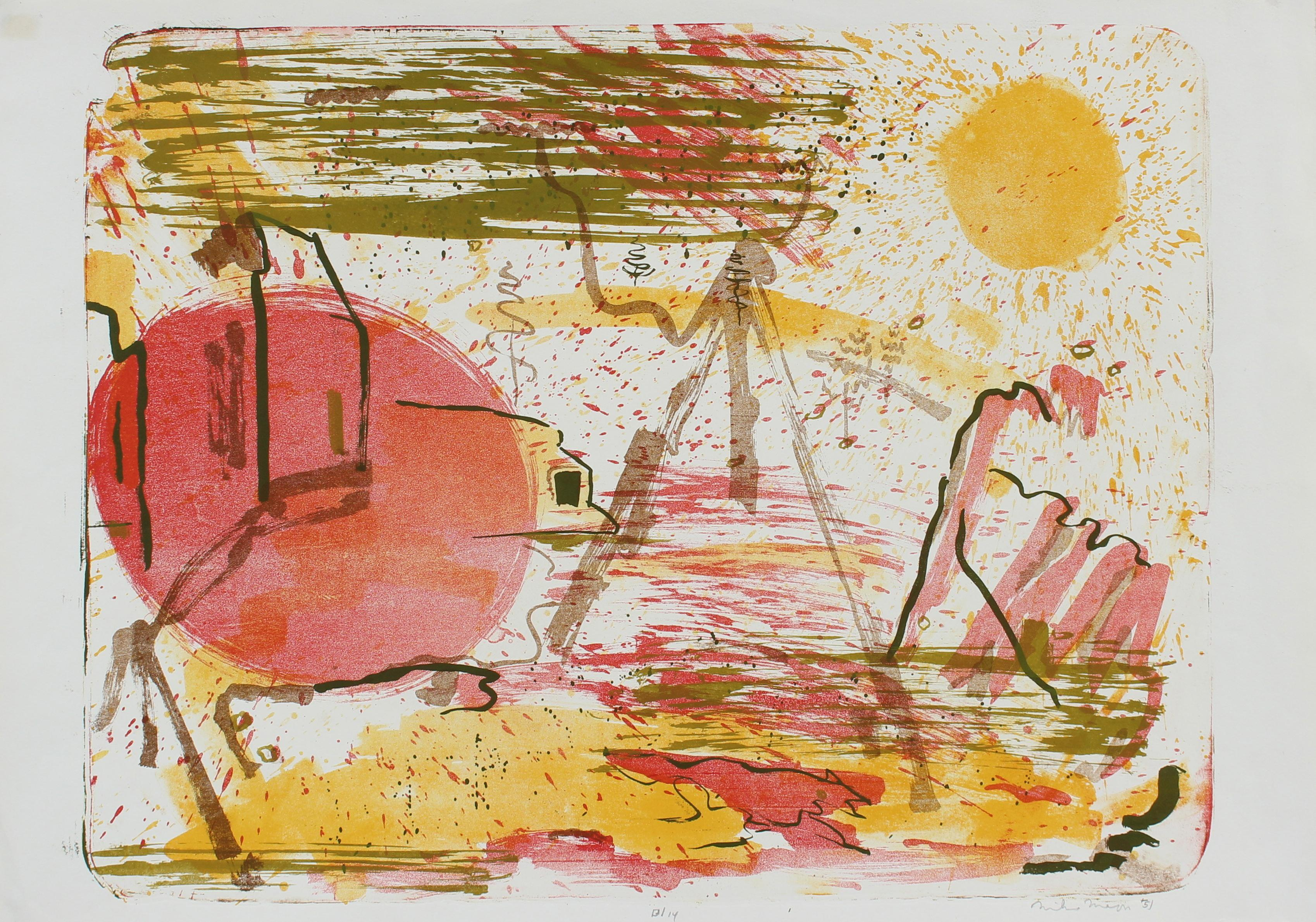 Sunny Abstracted Landscape Lithograph with Yellow, Pink and Green, 1951