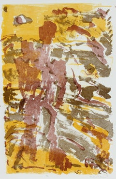 Warm Toned Modernist Figure & Sky Abstract 1953 Lithograph