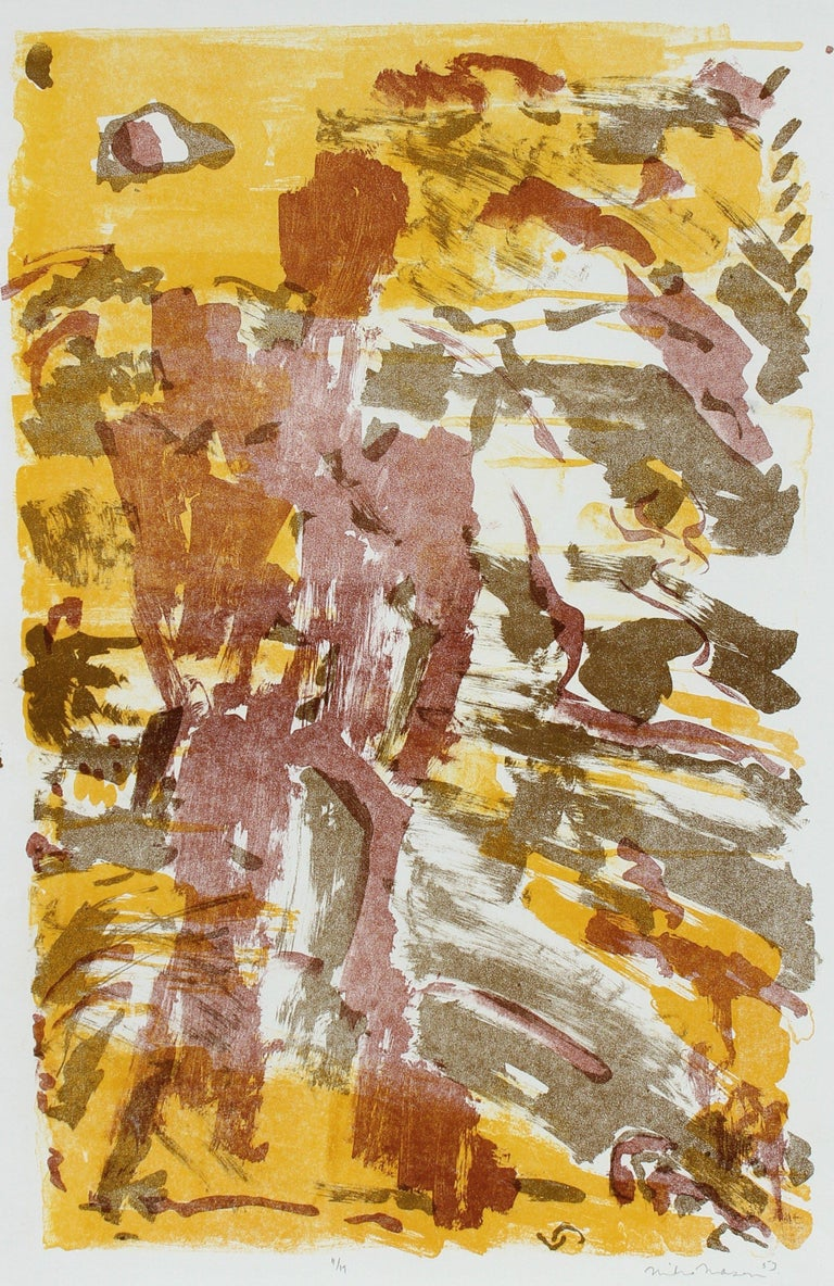 Michael L. Mason Abstract Print - Warm Toned Modernist Figure & Sky Abstract 1953 Lithograph