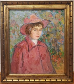 Impressionist Portrait Painting of a Woman In Red