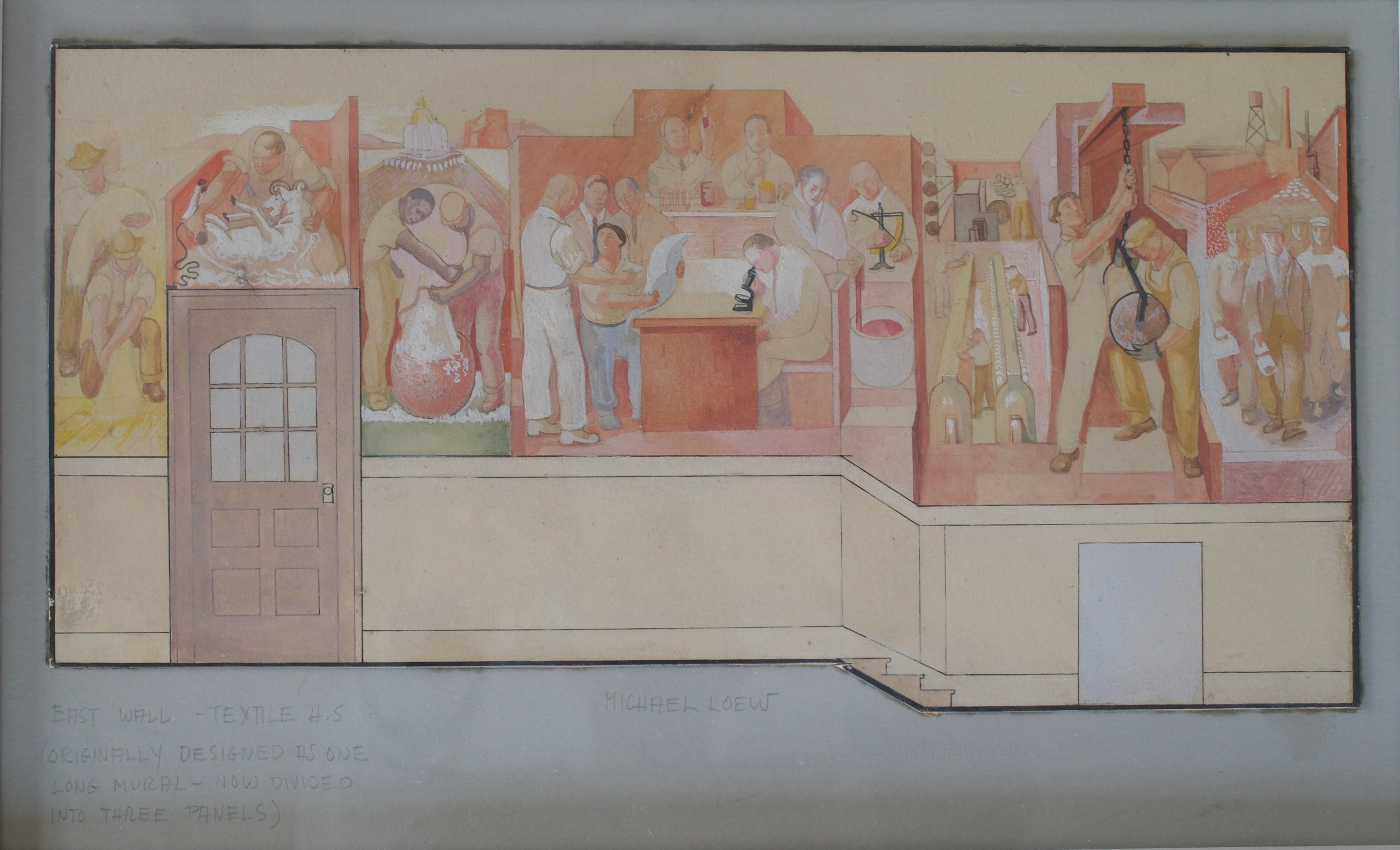 Mural Study 1933 Depression Era Mid-Century WPA Modern American Scene Drawing