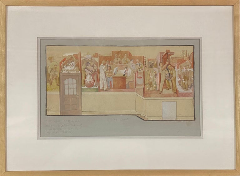"Mural Study 1933 Depression Era Mid-Century WPA Modern American Scene Drawing.  Study to Scale Mural Sketch for ""Evolution of Textile Production"" East. All, Textile High School. 1933. Tempera on Board. 8 1/2″ x 13 7/8"" Framed 15 1/4"" x 20 5/8""."