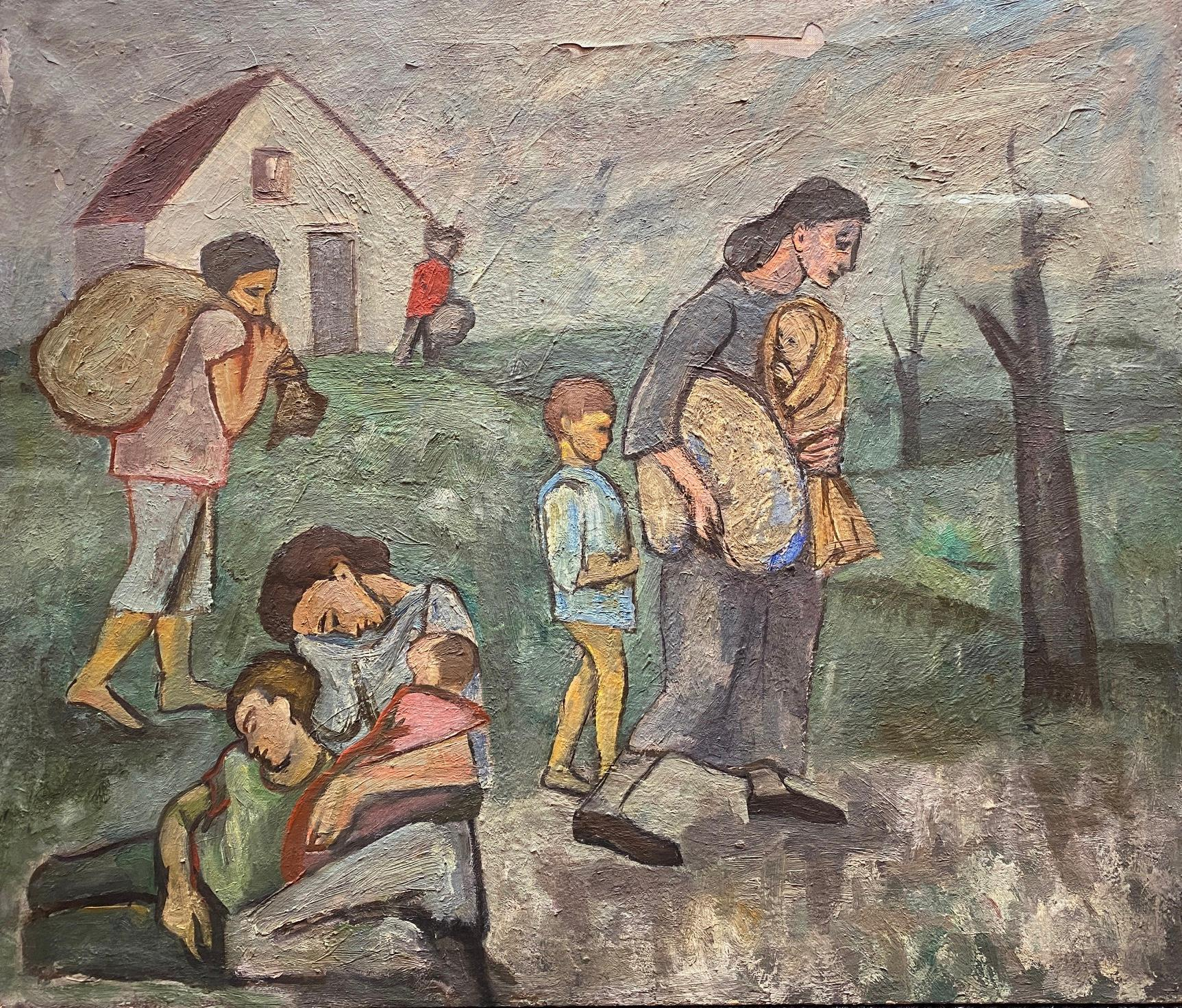 """""""Refugees"""" Mexican American Oil Painting Depression Era WPA Mid-Century Modern"""
