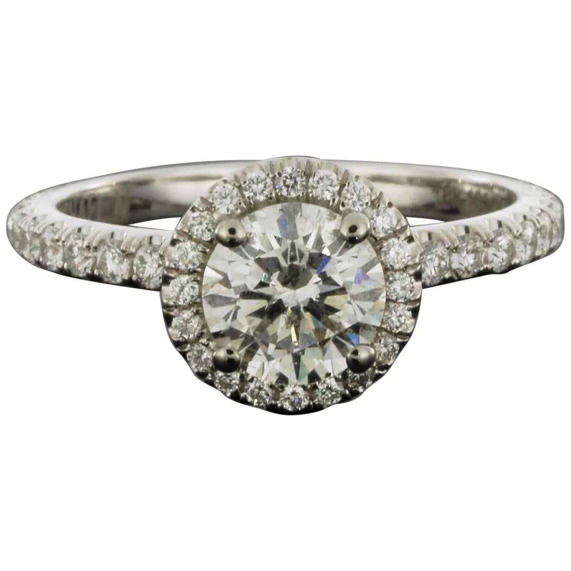 Michael M White Gold 1.51 Carat Round Diamond Halo Engagement Ring