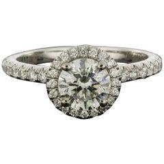Michael M White Gold 1.51 Carat Round Diamond Halo Engagement Ring
