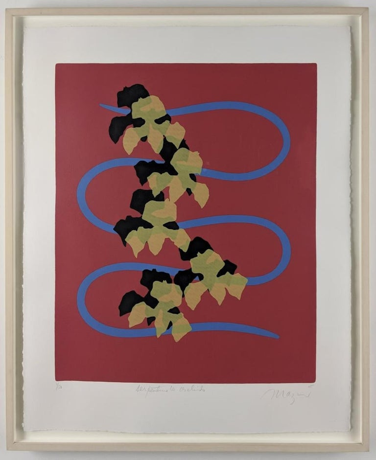 Serpentine with Orchids, 2005 Four-color screenprint on Rives BFK. Edition: 50 + 7 artist's proofs 28 x 22 (paper size) framed by Bark Frameworks.  Michael Burton Mazur (1935-August 18, 2009) was an American artist who was described by William
