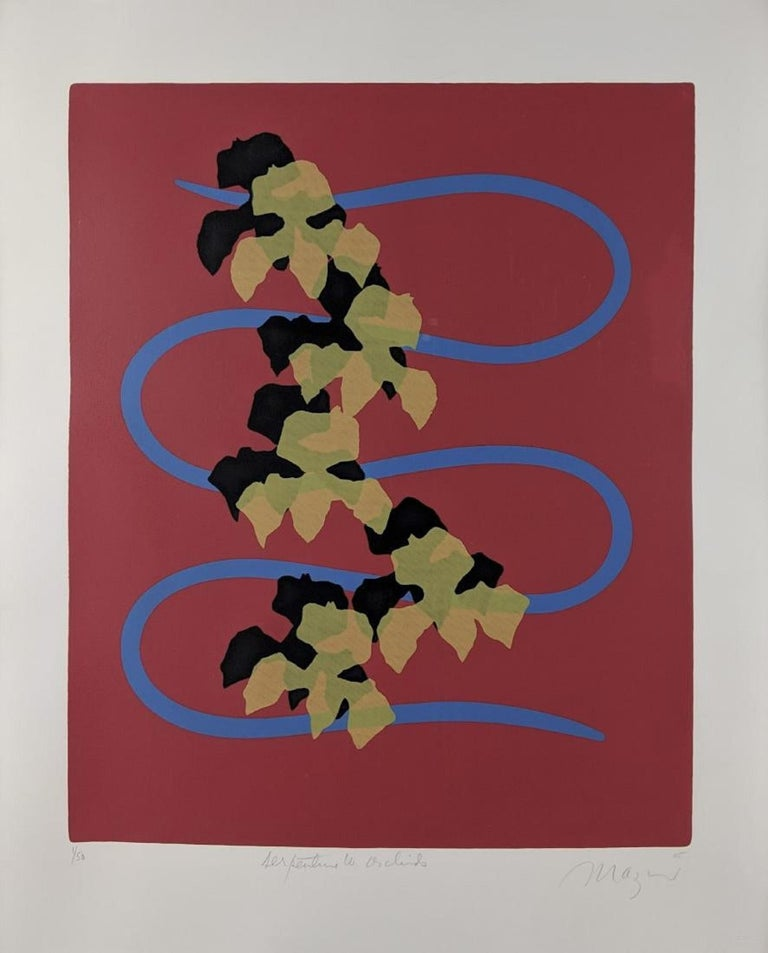 Serpentine with Orchids Modernist Silkscreen Signed Screenprint For Sale 1