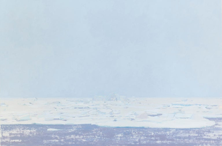 "Michael Meehan Landscape Painting - MICHAEL MEEHAN, ""Pikes Arm"", icy blues and white landscape oil on linen painting"