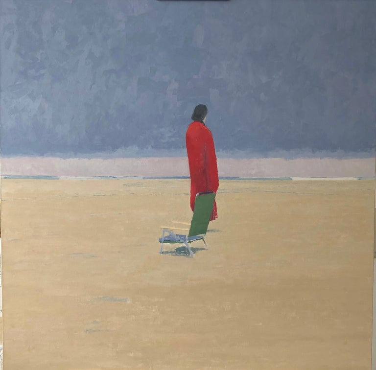 """Michael Meehan, """"The Red Towel"""", seascape w lone figure on beach, oil on linen - Painting by Michael Meehan"""