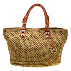 MICHAEL Michael Kors Beige/Orange Raffia and Leather Basket Tote