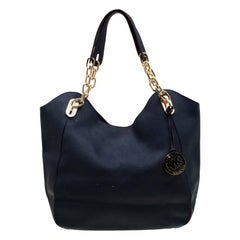Michael Michael Kors Blue Leather Lilly Chain Tote