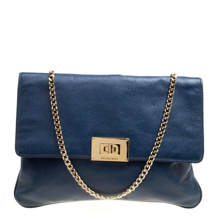 09222b558b1906 Michael Michael Kors Blue Leather Oversized Sloan Turn Lock Chain Clutch  For Sale