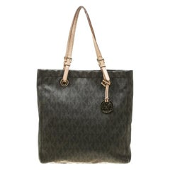 MICHAEL Michael Kors Brown Signature Coated Canvas North South Tote
