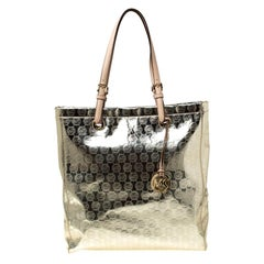 Michael Michael Kors Gold Monogram Patent Leather Jet Set North South Tote