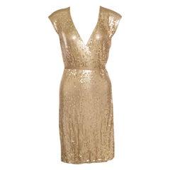 Michael Michael Kors Gold Sequined Wrap Dress S