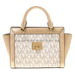 MICHAEL Michael Kors Gold/White Signature Coated Canvas and Leather Tina TZ Tote