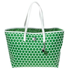 MICHAEL Michael Kors Green/White Polka Dot Coated Canvas Travel Tote