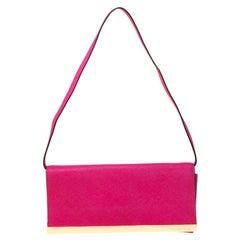 Michael Michael Kors Magenta Leather Lana Clutch Bag