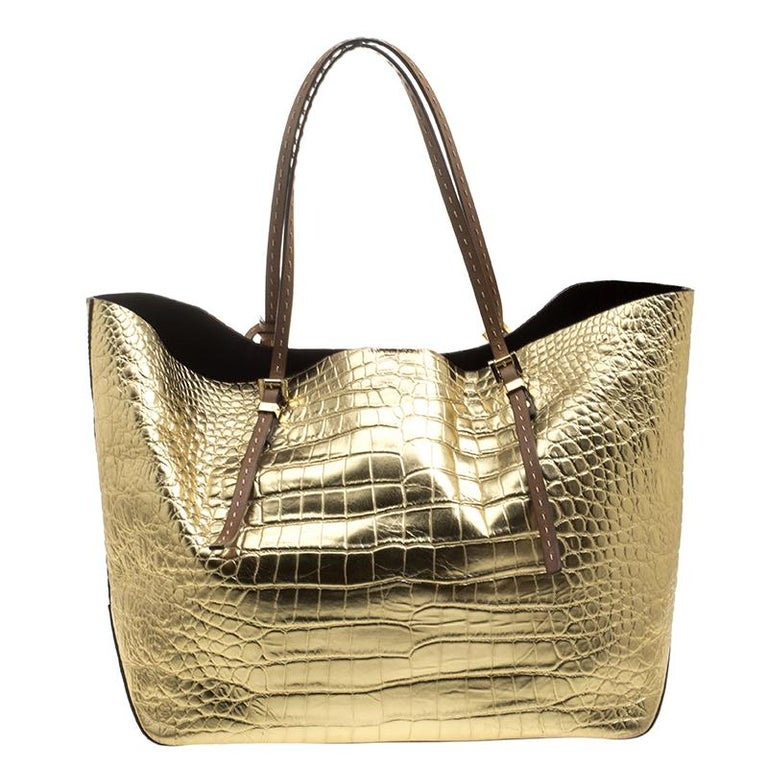 5d7bcff098f12a Michael Michael Kors Metallic Gold Croc Embossed Leather Gia Tote In Good  Condition For Sale In