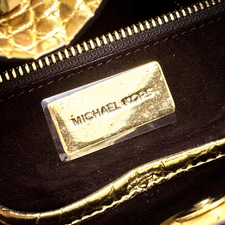 9dbd7a7807353d Michael Michael Kors Metallic Gold Croc Embossed Leather Gia Tote For Sale 2