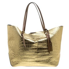 Michael Michael Kors Metallic Gold Croc Embossed Leather Gia Tote