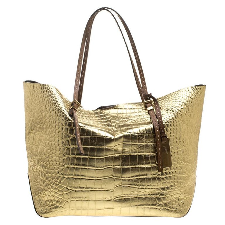 42ec218cf58ee9 Michael Michael Kors Metallic Gold Croc Embossed Leather Gia Tote For Sale