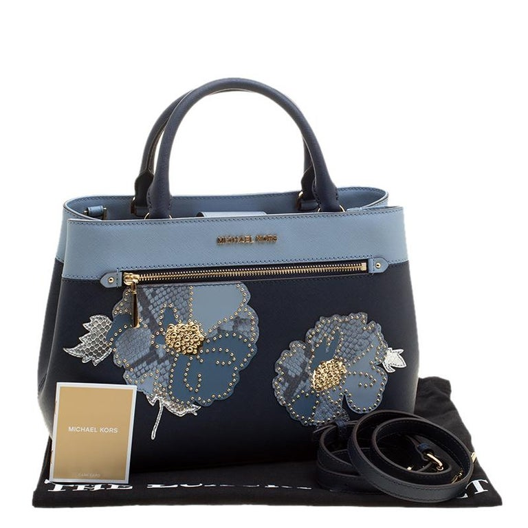 bcb690fd457380 Michael Michael Kors Navy Blue Leather Hailee Tote For Sale at 1stdibs