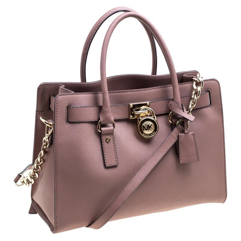 c50917769ea8 Michael Michael Kors Pale Pink Leather East West Hamilton Top Handle Bag  For Sale at 1stdibs
