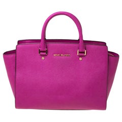 MICHAEL Michael Kors Pink Saffiano Leather Large Selma Tote