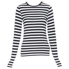 MICHAEL MICHAEL KORS viscose blend black white striped long sleeve top XXS