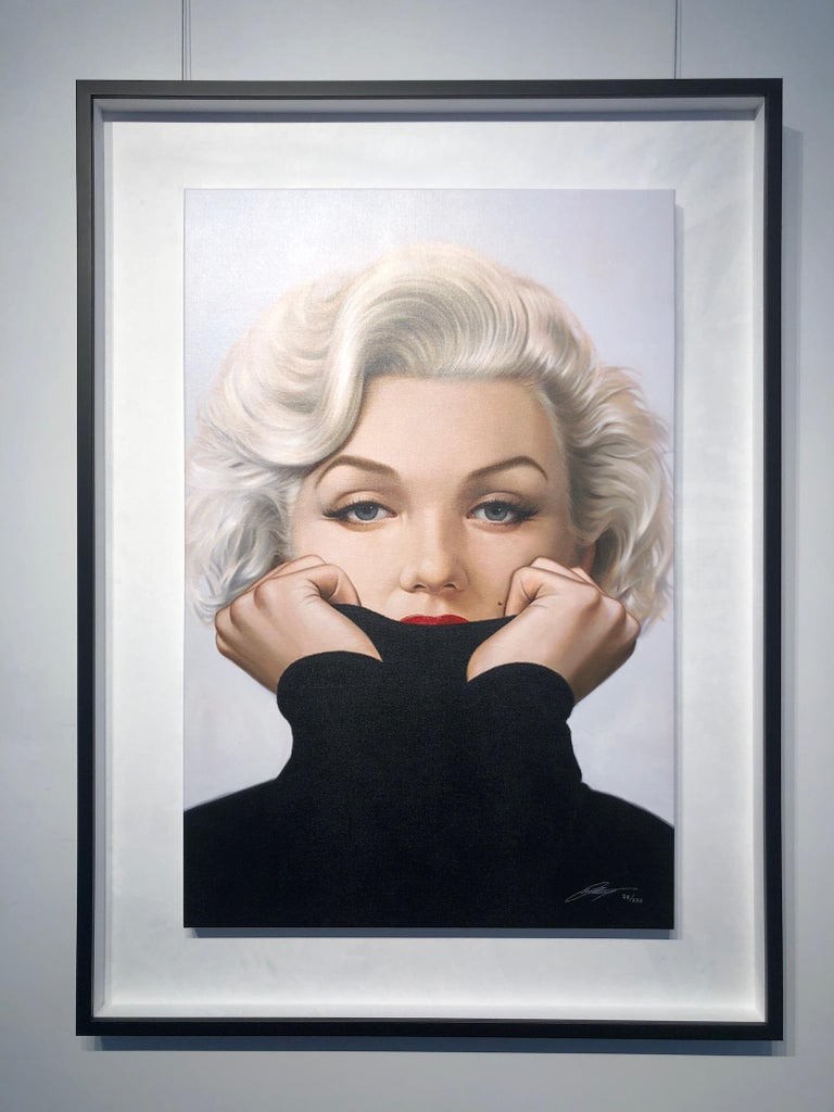 Michael Moebius Sugar Limited Edition Giclée Print on Canvas 30 x 40 inches Limited edition of 250 Signed and numbered by artist Unframed  Currently on display at Art Angels Gallery  Marilyn Monroe  Norma Jeane painting turtleneck Bubblegum works