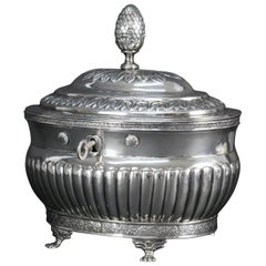 Michael Olof Barkman 1832, Varberg Sweden, Jewelry or Sugar Box in Silver