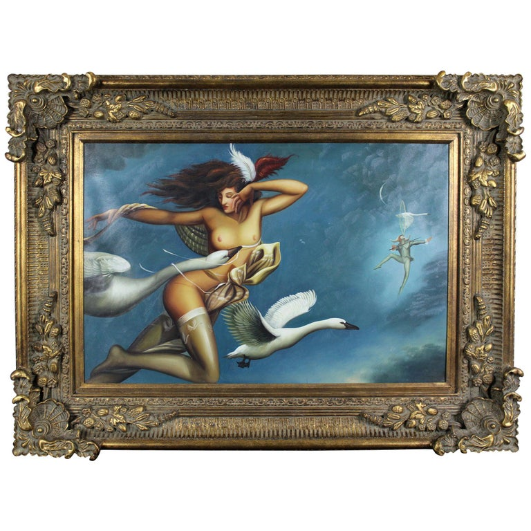 "Michael Parkes ""Night Flight"" Limited Edition Giclee on Canvas Nude Swans For Sale"