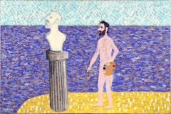 Artist's Dream III - Sculpture and Painting on Beach, Surreal Self-Portrait