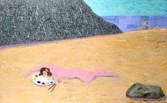 Artist's Dream - Nude Figure on Beach, Surreal Self-Portrait