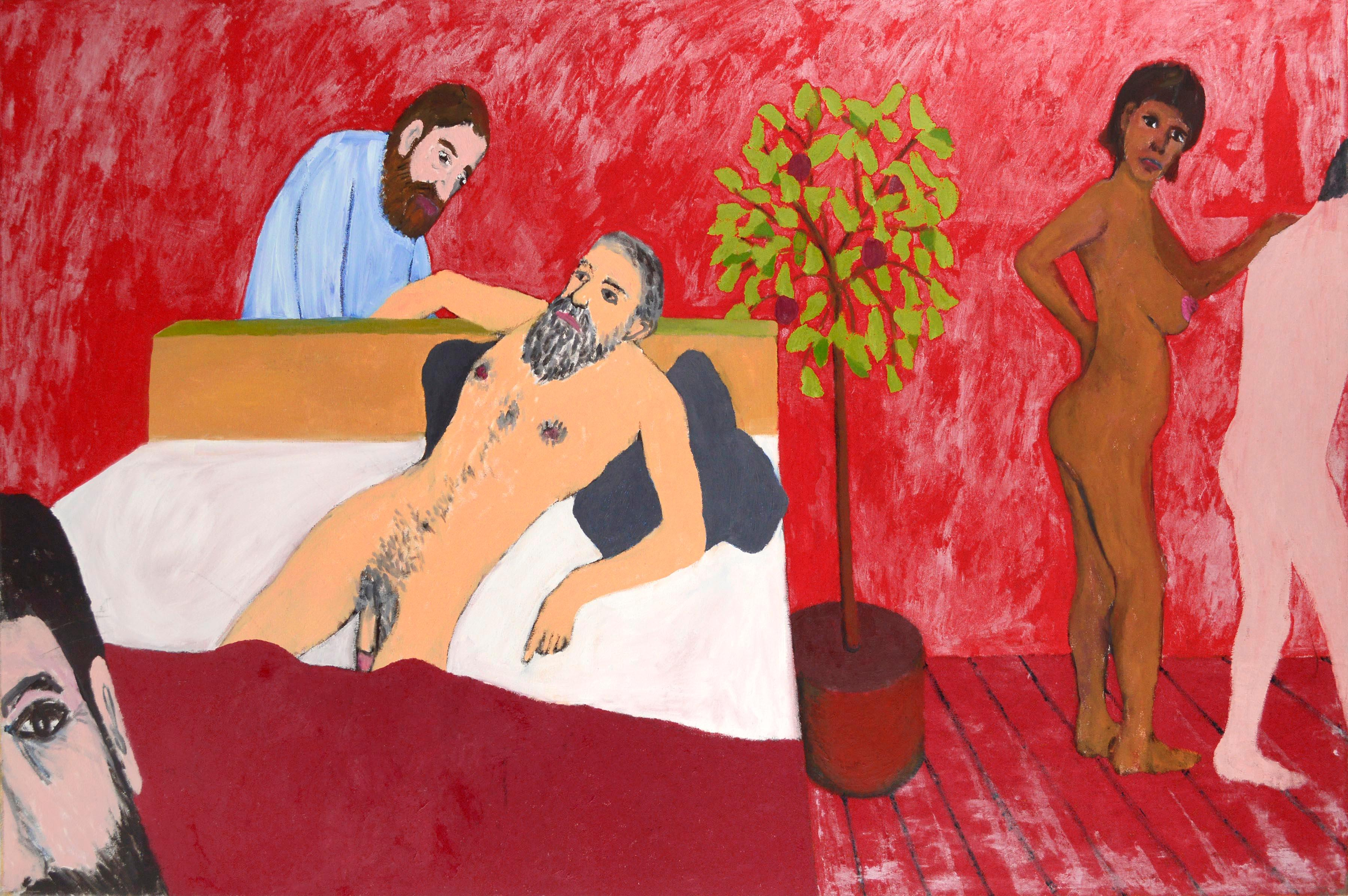 Reclining Nude with Tree - Figurative Interior Scene in Red Room