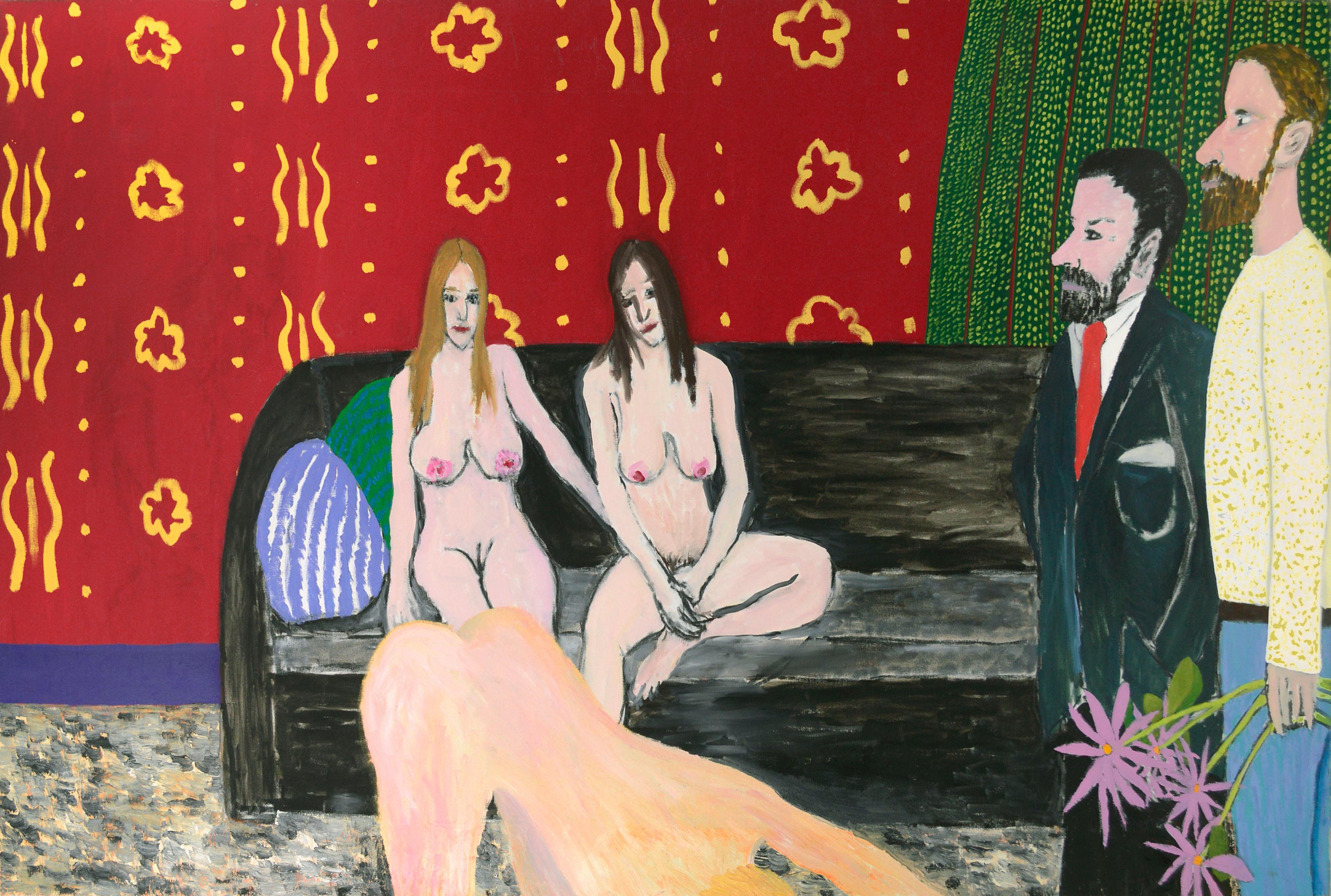 Three Nudes - Figurative Interior Scene with Red Wallpaper
