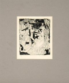 Cubist Abstract Etching