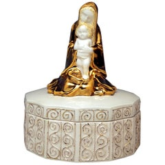 Michael Powolny Art Nouveau Vienna Virgin Mary Jesus Child on Box Model 93, 1911