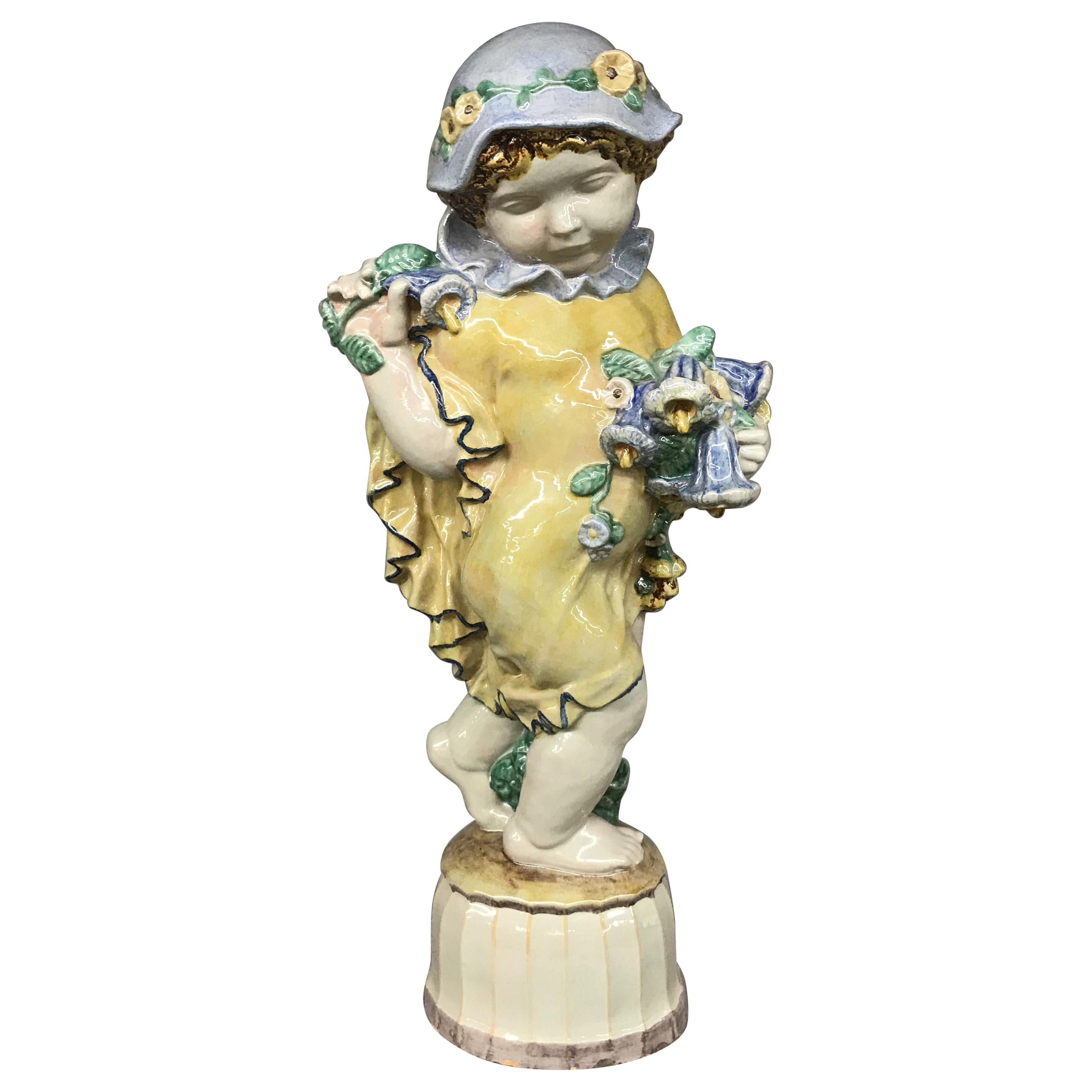 """Michael Powolny Austrian Ceramic Sculpture of Putto with Flowers, """"Summer"""""""