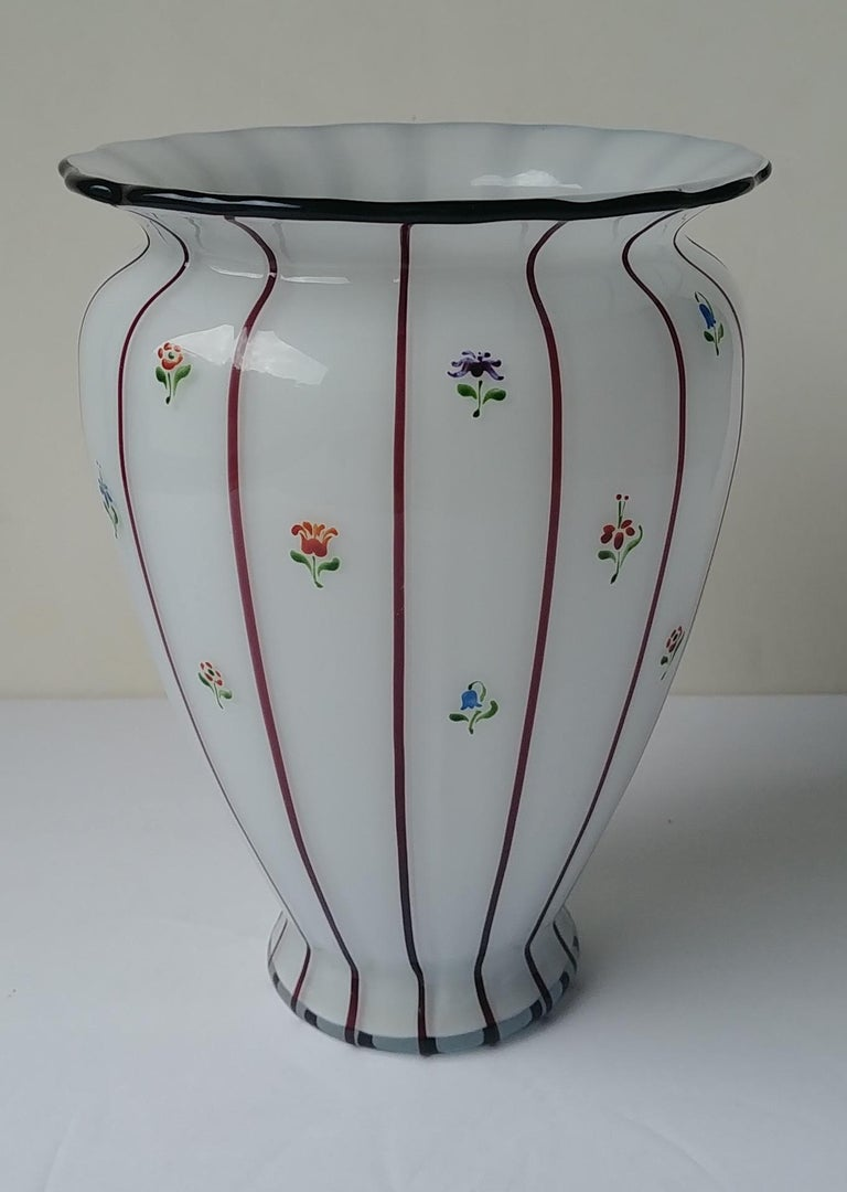 Michael Powolny for Loetz, Large Glass Vase, Hand Painted by Wilms, Art Nouveau In Excellent Condition For Sale In Los Angeles, CA