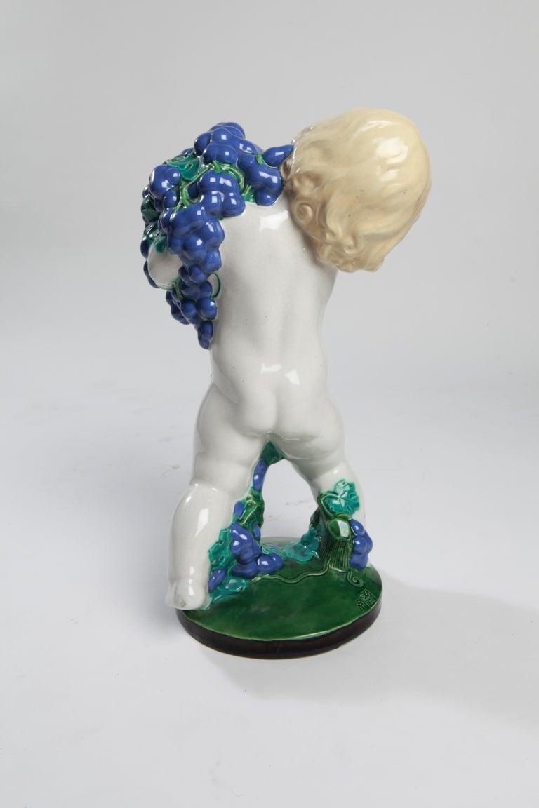 Ceramic sculpture, circa 1907, designed by Michael Powolny (1871-1954), Austrian ceramist, sculptor, designer, glass and metal artist.