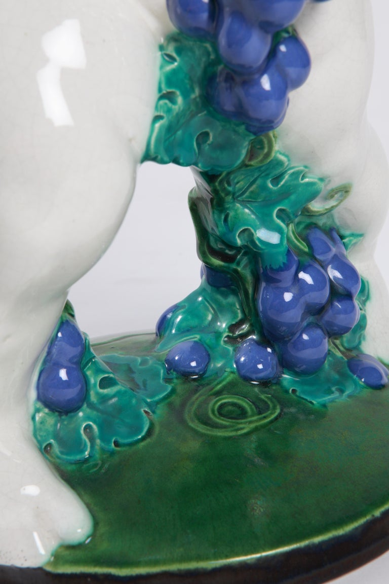 Glazed Michael Powolny Putto with Bunch of Grapes,