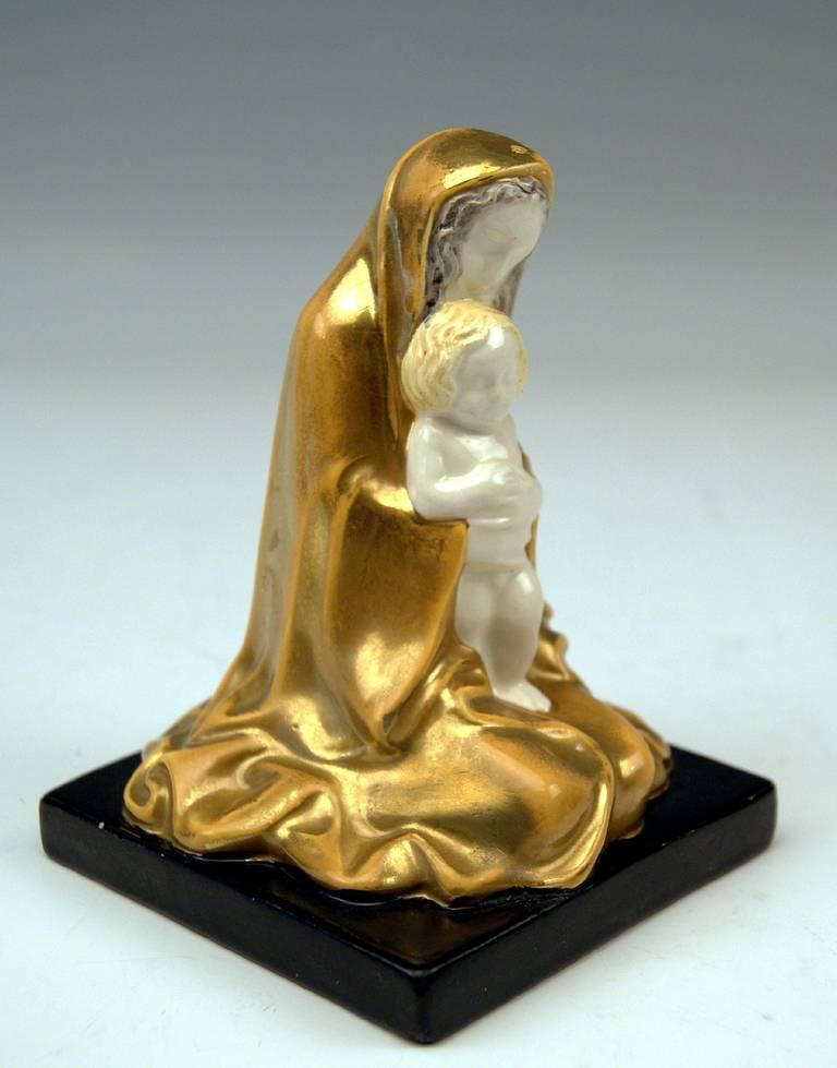 Art Nouveau Michael Powolny Vienna Virgin Mary Christ Child Wiener Keramik WK Model 96, 1908 For Sale