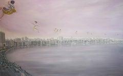 Alexandria - contemporary, figurative bay and cityscape of Alexandria with sea