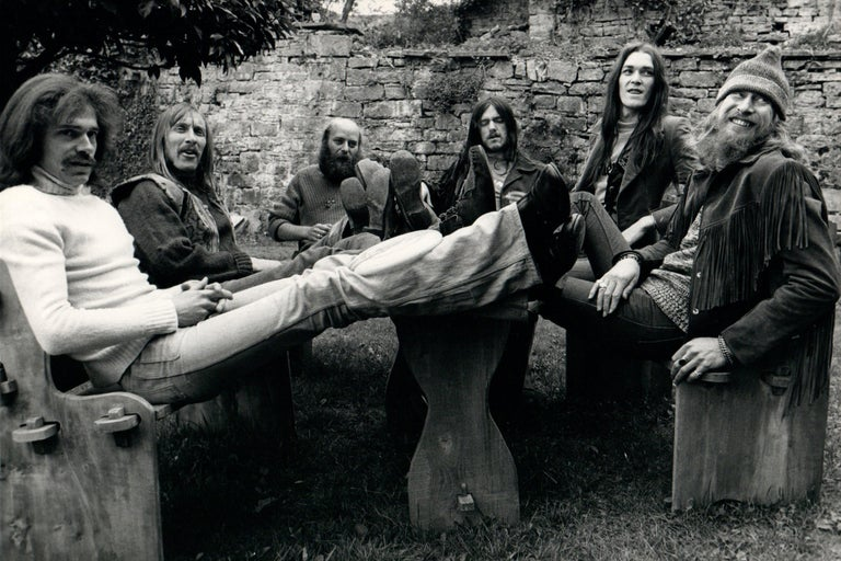 Michael Putland Black and White Photograph - Hawkwind with Feet Up Group Portrait Outdoors Vintage Original Photograph