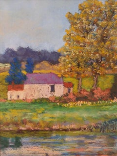 Country Landscape - Late 20th Century Impressionist Oil by Michael Quirke