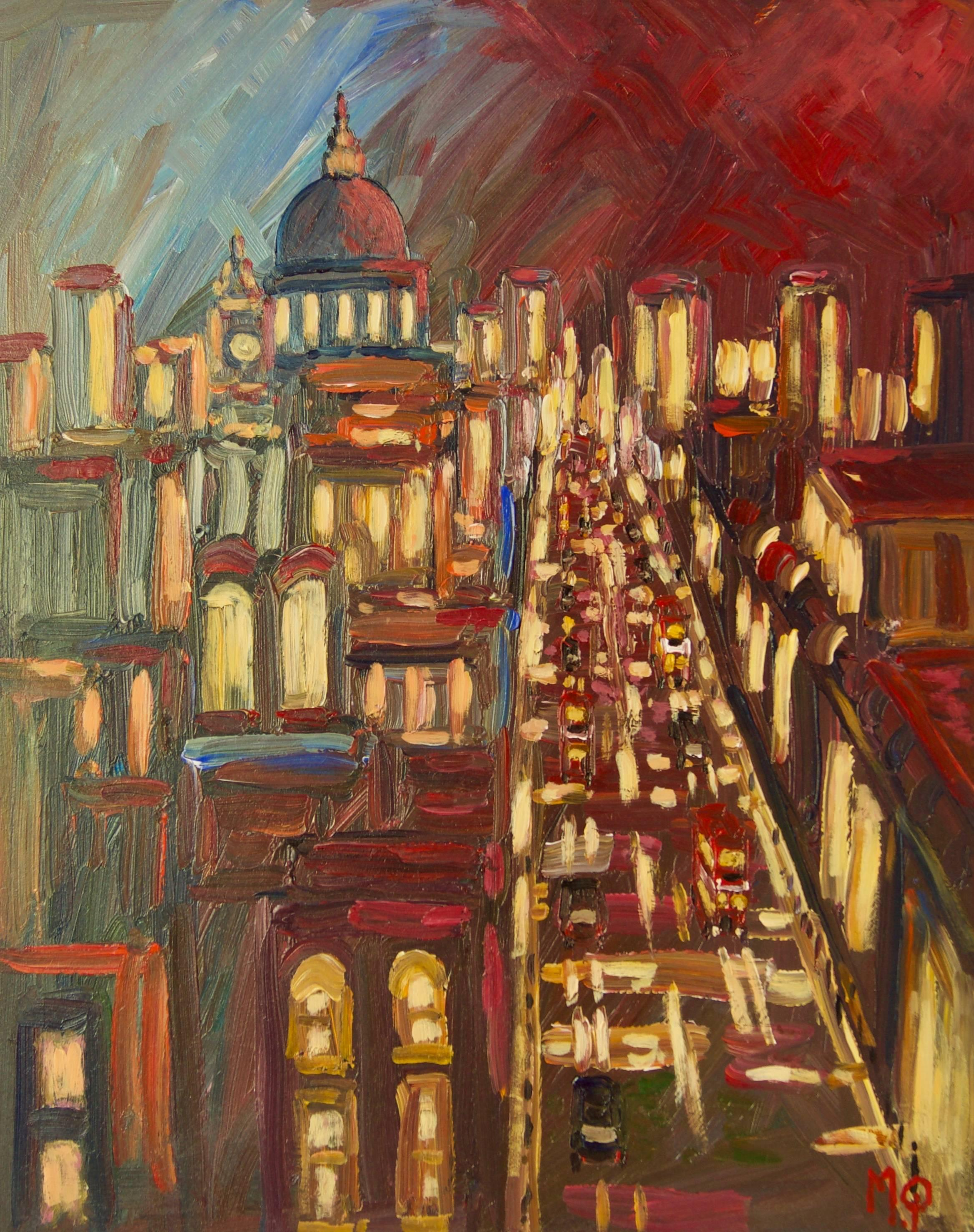 Early Morning City Of London - Late 20th Century Acrylic by Michael Quirke