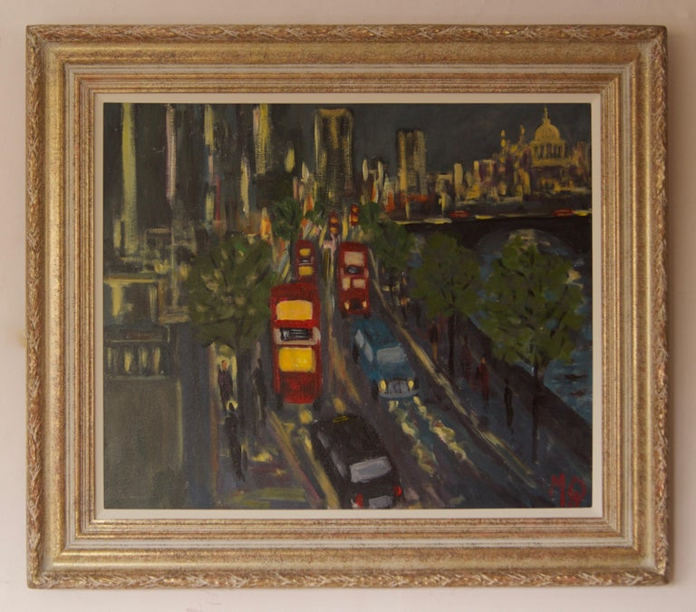 Evening Embankment - Late 20th Century Impressionist Acrylic Piece of London - Painting by Michael Quirke