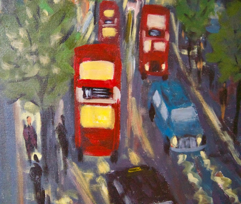 Evening Embankment - Late 20th Century Impressionist Acrylic Piece of London - Post-Impressionist Painting by Michael Quirke